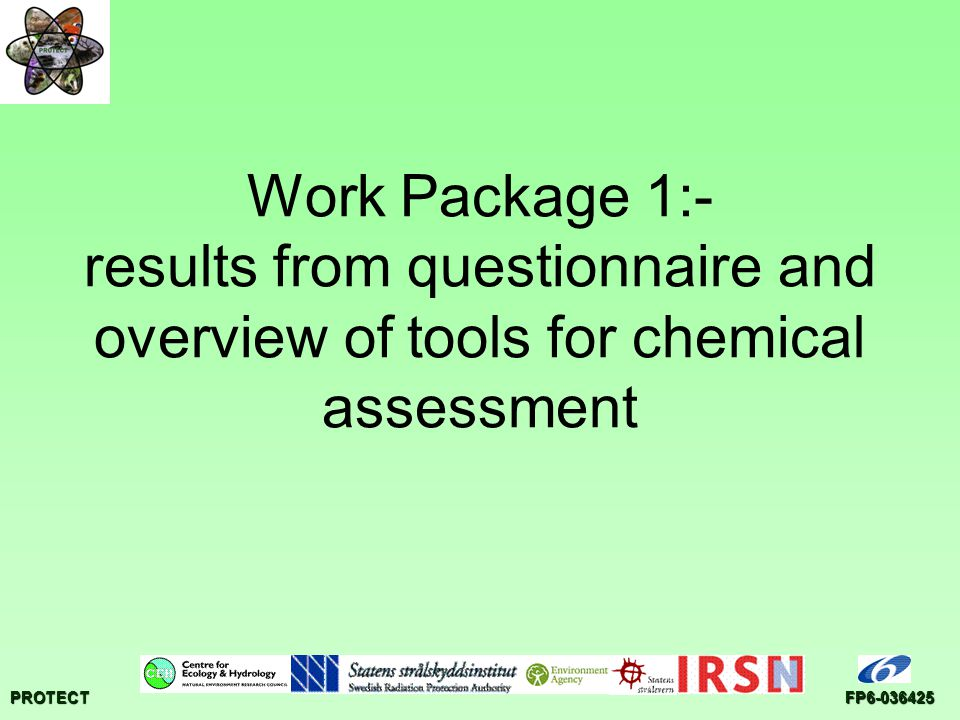 PROTECTFP6-036425 Work Package 1:- results from questionnaire and overview of tools for chemical assessment