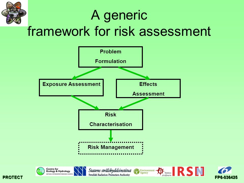 PROTECTFP6-036425 A generic framework for risk assessment Problem Formulation Risk Characterisation Effects Assessment Exposure Assessment Risk Management