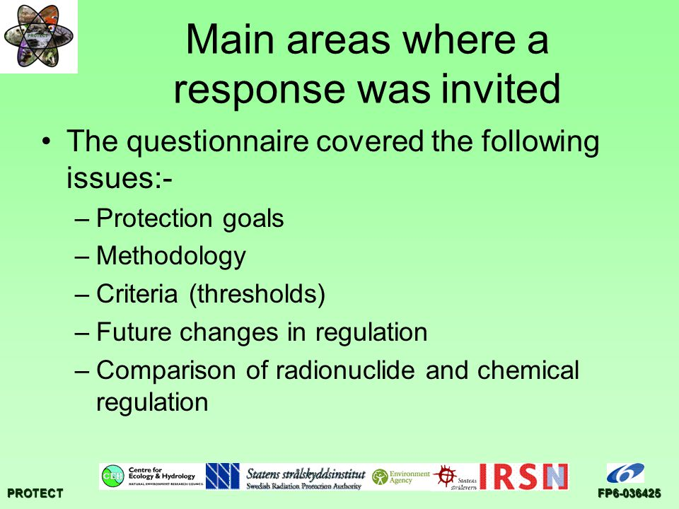 PROTECTFP6-036425 Questionnaire responses 34 questionnaire responses received (23/03/07)