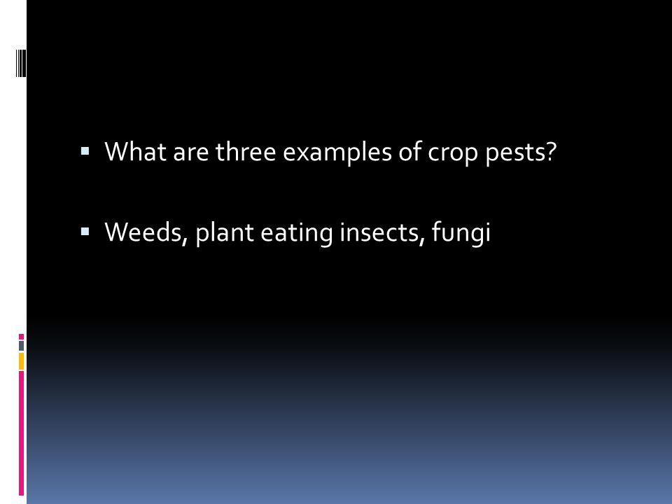  What are three examples of crop pests?  Weeds, plant eating insects, fungi