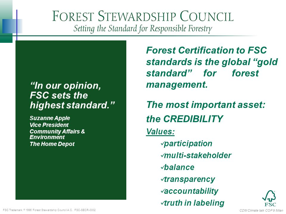 CDM Climate talk COP 9 Milan FSC Trademark  1996 Forest Stewardship Council A.C.