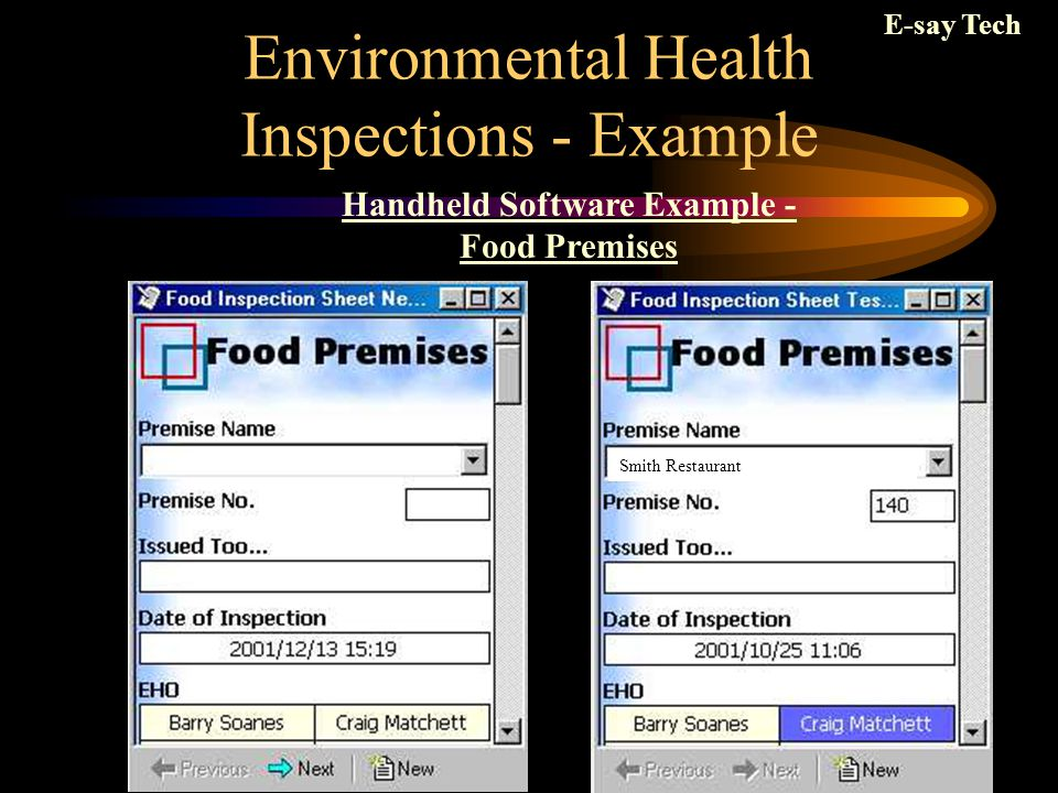 Environmental Health Inspections - Example Handheld Software Example - Food Premises Smith Restaurant E-say Tech