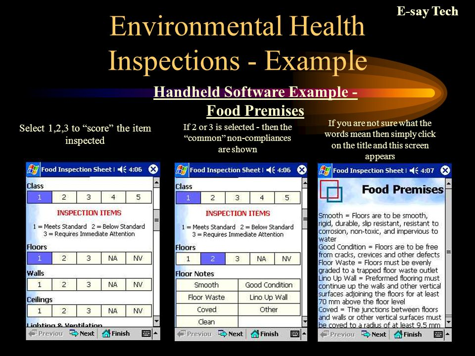 Environmental Health Inspections - Example And presto.