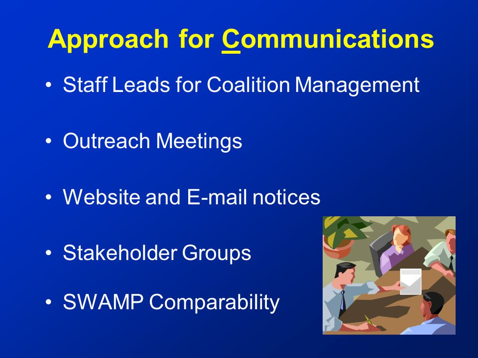 Staff Leads for Coalition Management Outreach Meetings Website and E-mail notices Stakeholder Groups SWAMP Comparability Approach for Communications