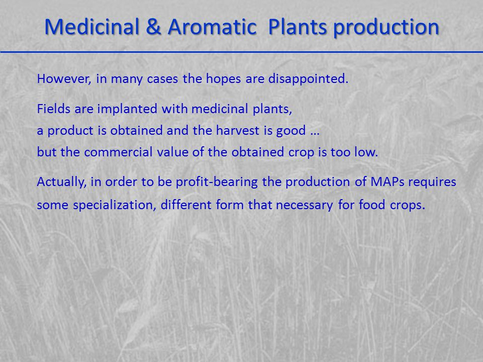 Medicinal & Aromatic Plants production In food production, the main problem is the produced amount.