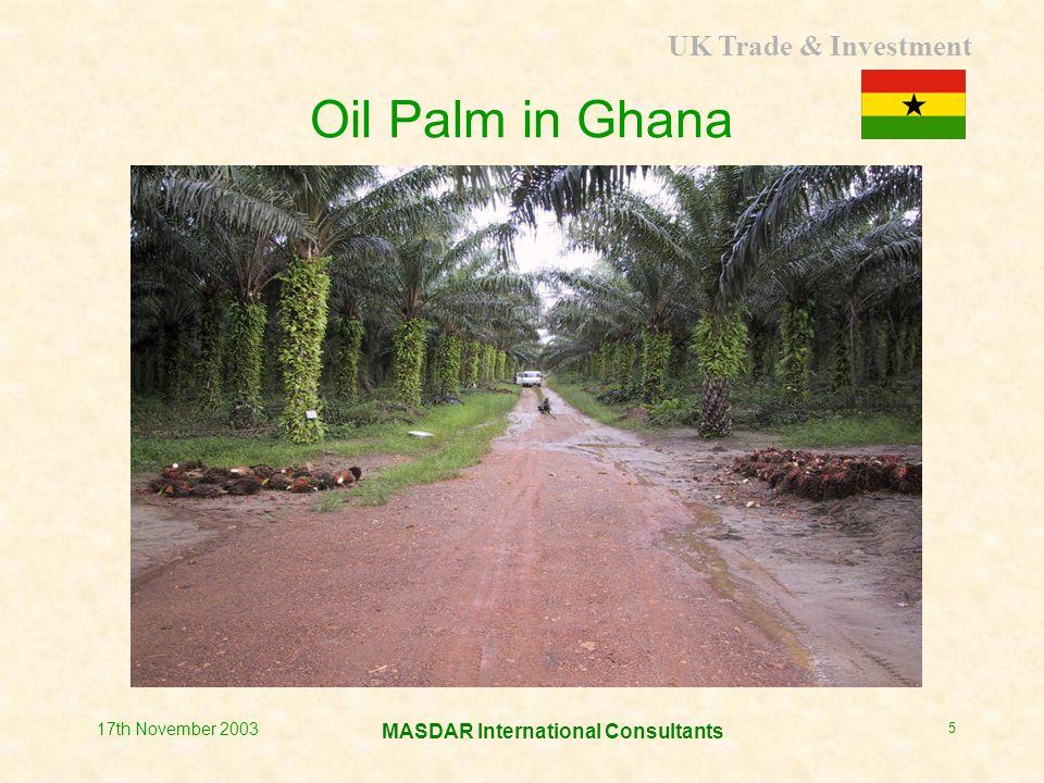 UK Trade & Investment MASDAR International Consultants 17th November 2003 5 Oil Palm in Ghana