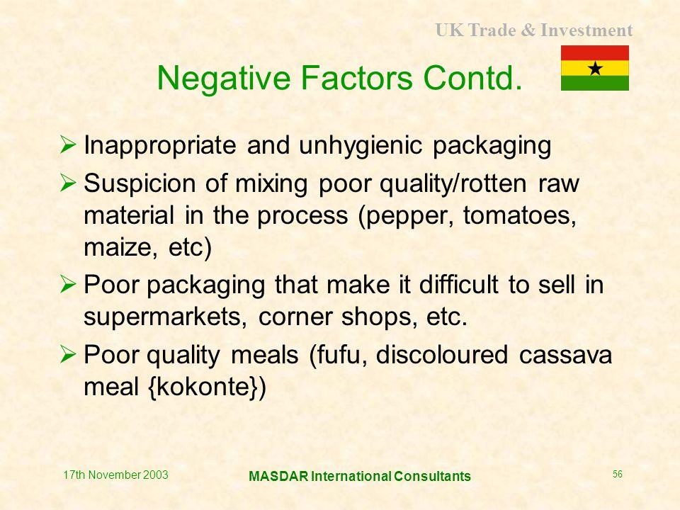 UK Trade & Investment MASDAR International Consultants 17th November 2003 56 Negative Factors Contd.