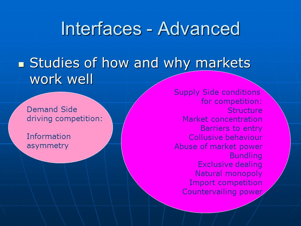 Interfaces - Advanced Studies of how and why markets work well Studies of how and why markets work well Demand Side driving competition: Information asymmetry Supply Side conditions for competition: Structure Market concentration Barriers to entry Collusive behaviour Abuse of market power Bundling Exclusive dealing Natural monopoly Import competition Countervailing power