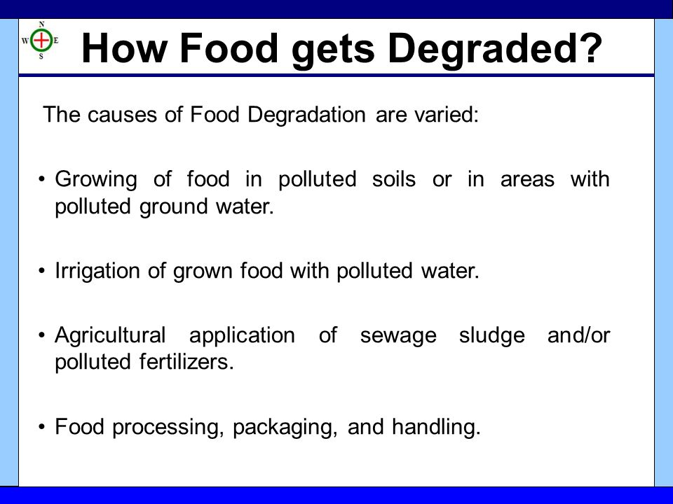What is Food Degradation? The presence of toxic chemicals (elements or compounds) and/or biological contaminants in food (which are actually not prese