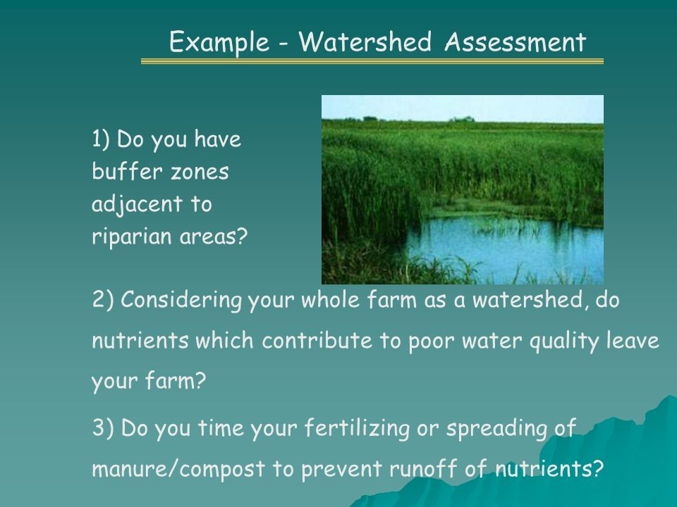 Example - Watershed Assessment 1) Do you have buffer zones adjacent to riparian areas.