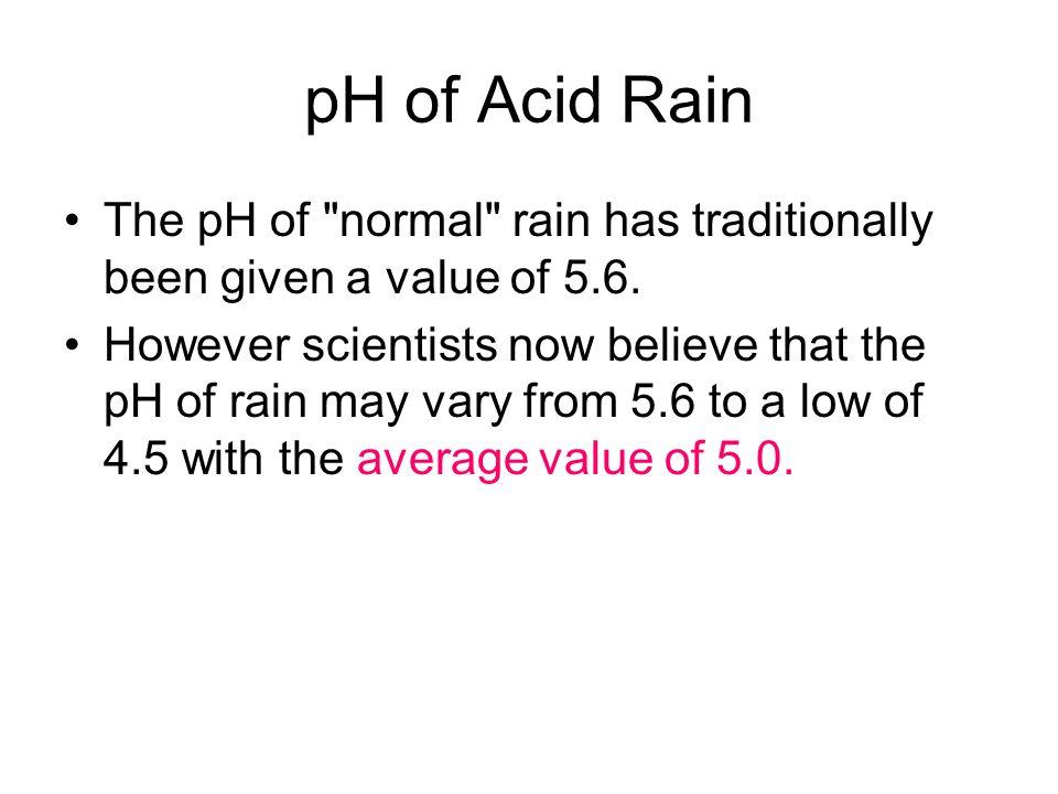 pH of Acid Rain The pH of