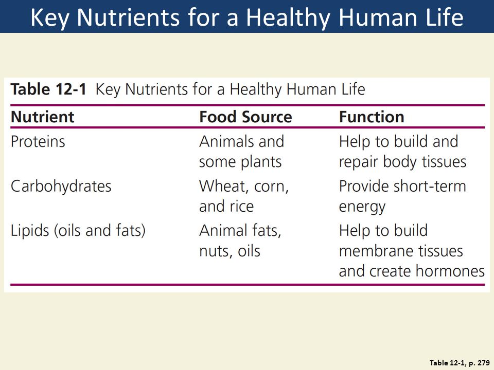 Key Nutrients for a Healthy Human Life Table 12-1, p. 279
