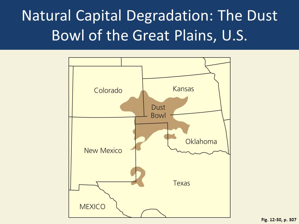 Natural Capital Degradation: The Dust Bowl of the Great Plains, U.S. Fig. 12-30, p. 307