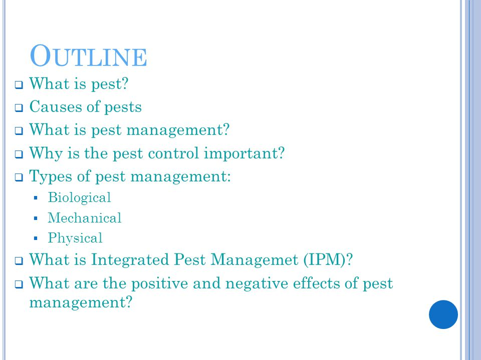 O UTLINE  What is pest?  Causes of pests  What is pest management?  Why is the pest control important?  Types of pest management:  Biological 