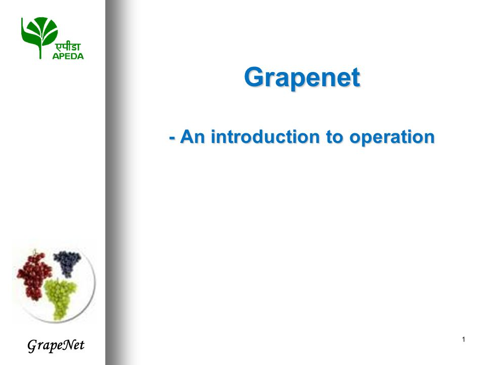 GrapeNet 2  STAGE I : Regulation of Export of Fresh Table Grapes through monitoring of pesticide residues  Standards to meet international market demands  Agencies to test compliance with these standards  And no export of fresh grapes can happen to the EU without adhering to this system  STAGE II : IT enable the regulation, simplify procedure, ensure compliance and monitor progress  Integrate all stakeholders (Farmers, State Govts., Exporters, Labs., Pack-houses, Agmark, PSC) in the chain with a centralized database management  Prepare exporters for Traceability needs of importers What have we achieved until today ?