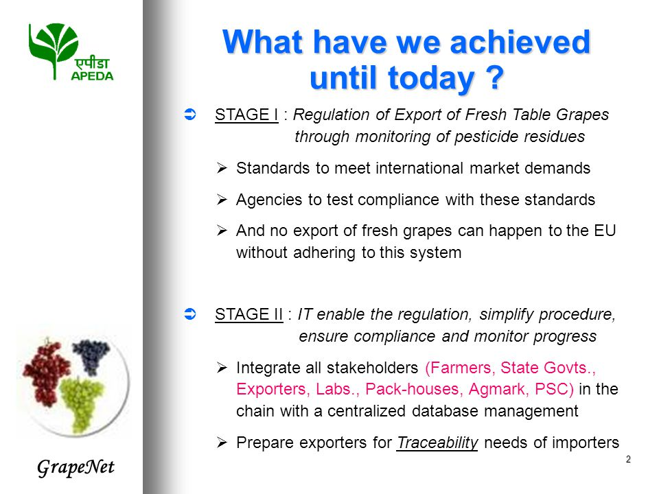 GrapeNet 2  STAGE I : Regulation of Export of Fresh Table Grapes through monitoring of pesticide residues  Standards to meet international market demands  Agencies to test compliance with these standards  And no export of fresh grapes can happen to the EU without adhering to this system  STAGE II : IT enable the regulation, simplify procedure, ensure compliance and monitor progress  Integrate all stakeholders (Farmers, State Govts., Exporters, Labs., Pack-houses, Agmark, PSC) in the chain with a centralized database management  Prepare exporters for Traceability needs of importers What have we achieved until today