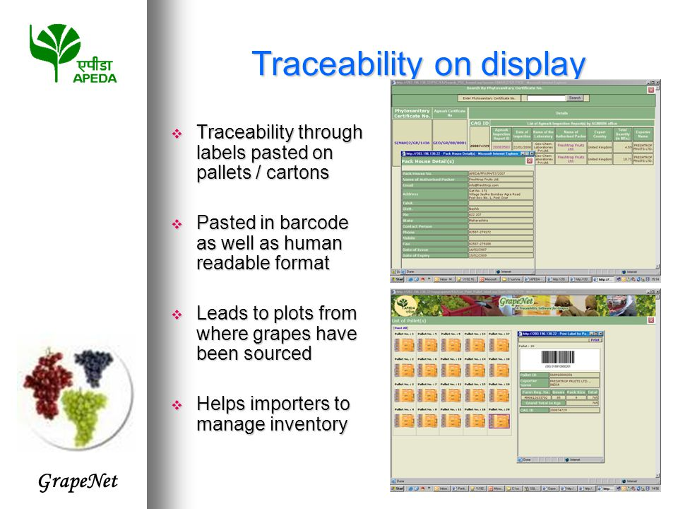 GrapeNet Traceability on display  Traceability through labels pasted on pallets / cartons  Pasted in barcode as well as human readable format  Leads to plots from where grapes have been sourced  Helps importers to manage inventory
