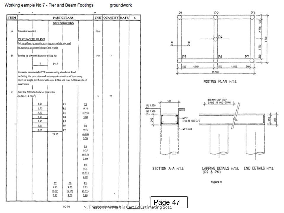 Page 47 N. Preston / M Martin Cert IV Estimating 2012