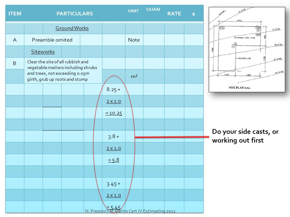 Do your side casts, or working out first N. Preston / M Martin Cert IV Estimating 2012