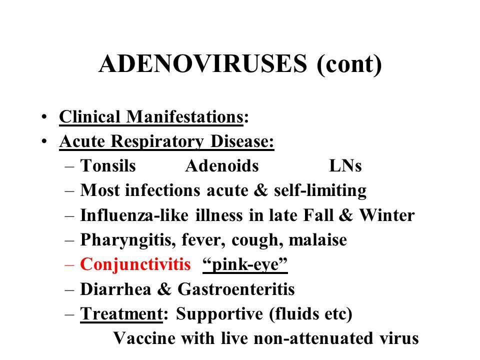 ADENOVIRUSES (cont) Clinical Manifestations: Acute Respiratory Disease: –TonsilsAdenoidsLNs –Most infections acute & self-limiting –Influenza-like ill