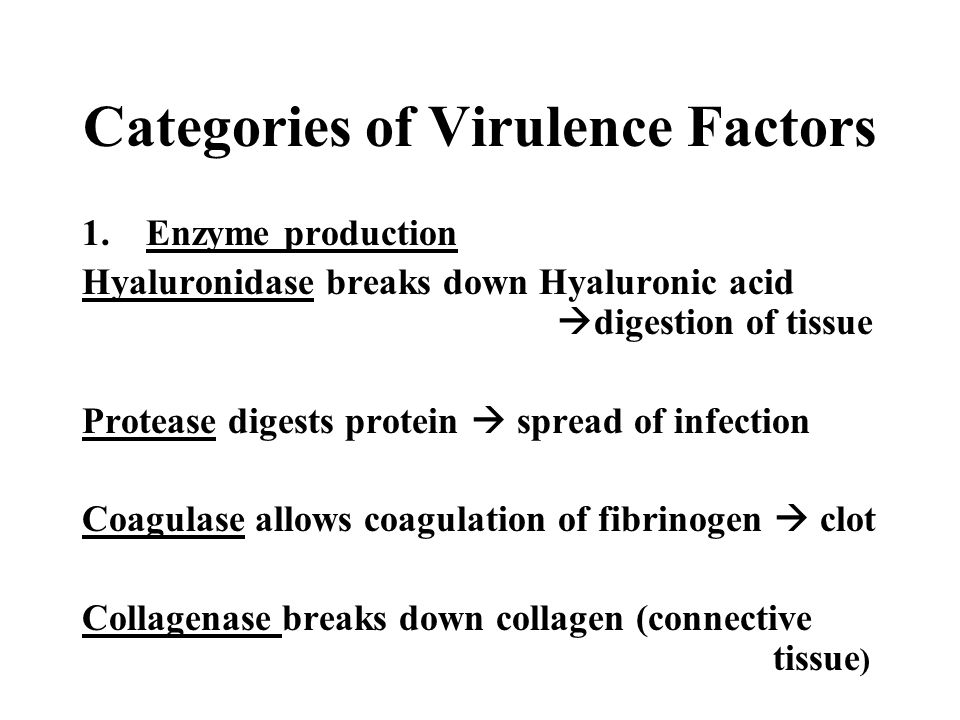 Categories of Virulence Factors 1.Enzyme production Hyaluronidase breaks down Hyaluronic acid  digestion of tissue Protease digests protein  spread