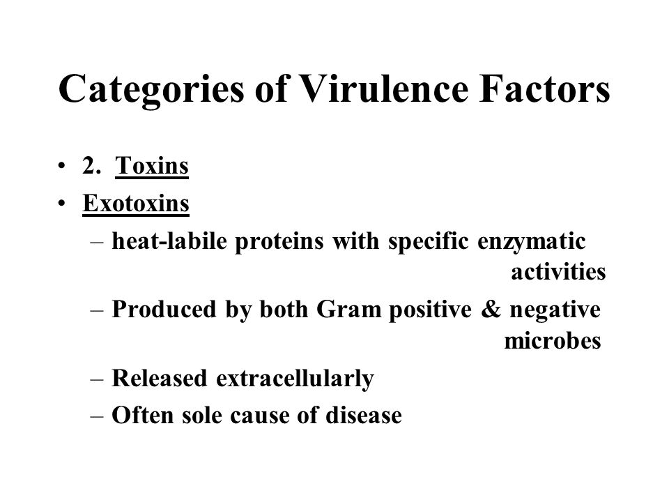 Categories of Virulence Factors 2. Toxins Exotoxins –heat-labile proteins with specific enzymatic activities –Produced by both Gram positive & negativ