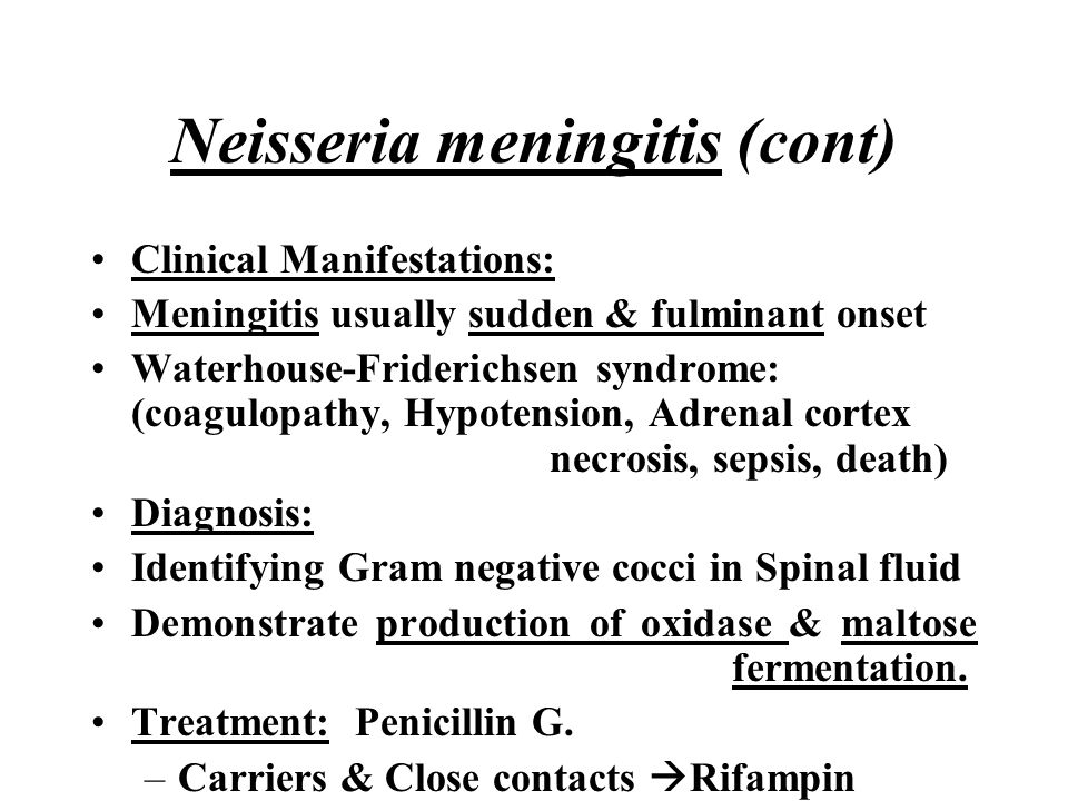 Neisseria meningitis (cont) Clinical Manifestations: Meningitis usually sudden & fulminant onset Waterhouse-Friderichsen syndrome: (coagulopathy, Hypo