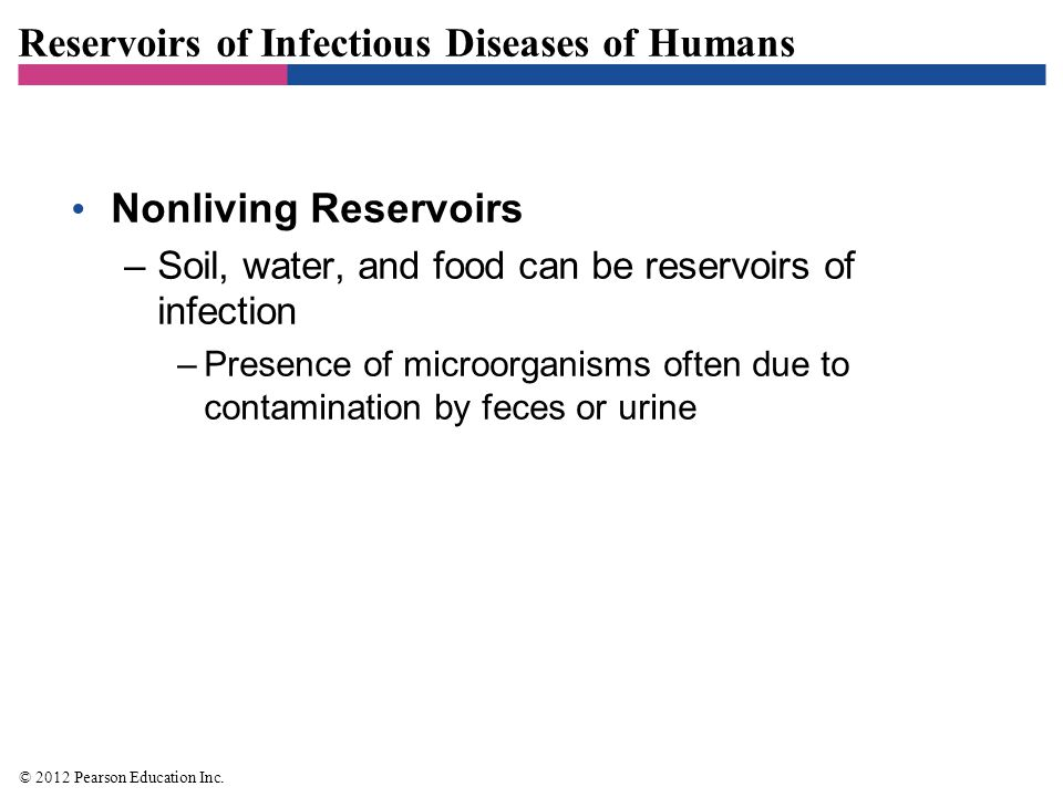 Reservoirs of Infectious Diseases of Humans Nonliving Reservoirs –Soil, water, and food can be reservoirs of infection –Presence of microorganisms oft