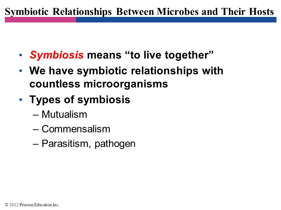 """Symbiotic Relationships Between Microbes and Their Hosts Symbiosis means """"to live together"""" We have symbiotic relationships with countless microorgani"""
