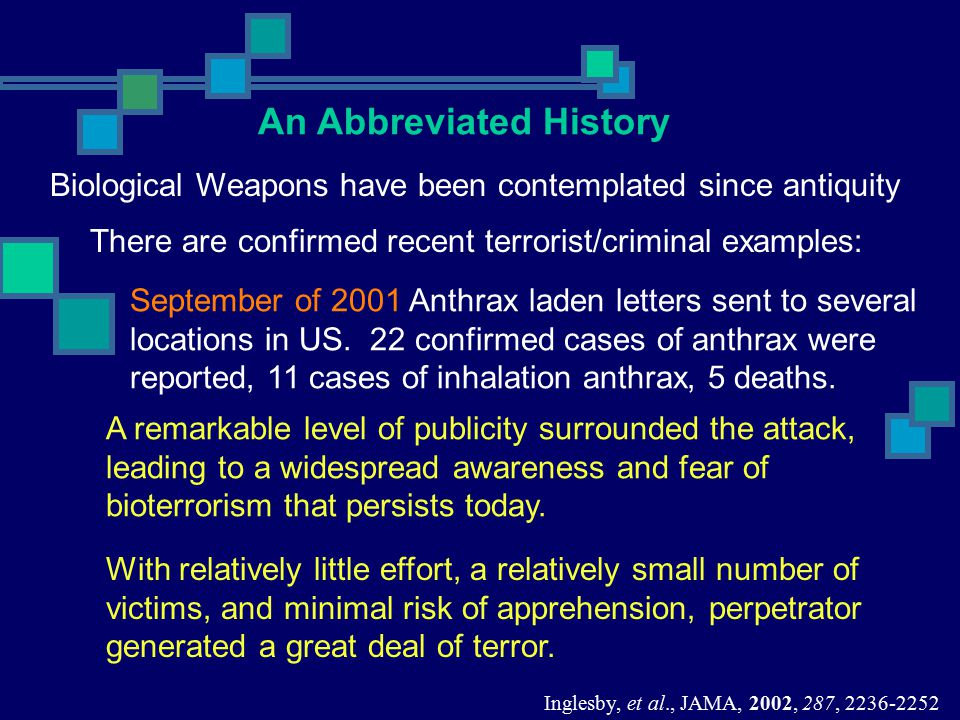 September of 2001 Anthrax laden letters sent to several locations in US. 22 confirmed cases of anthrax were reported, 11 cases of inhalation anthrax,