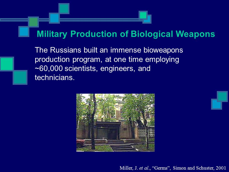 The Russians built an immense bioweapons production program, at one time employing ~60,000 scientists, engineers, and technicians. Miller, J. et al.,