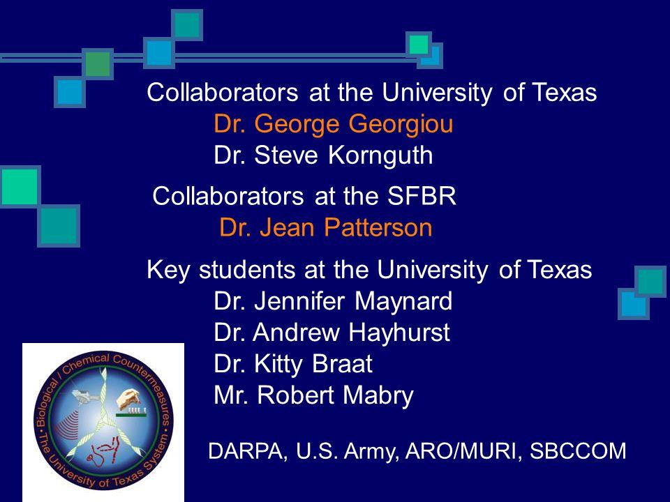 DARPA, U.S. Army, ARO/MURI, SBCCOM Collaborators at the University of Texas Dr. George Georgiou Dr. Steve Kornguth Key students at the University of T