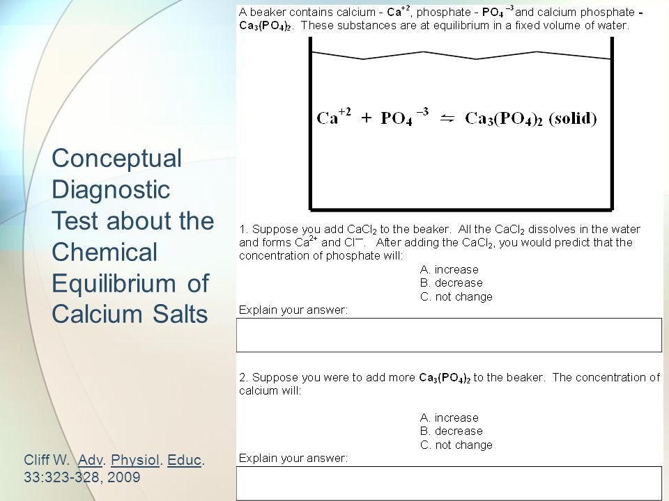 Conceptual Diagnostic Test about the Chemical Equilibrium of Calcium Salts Cliff W.