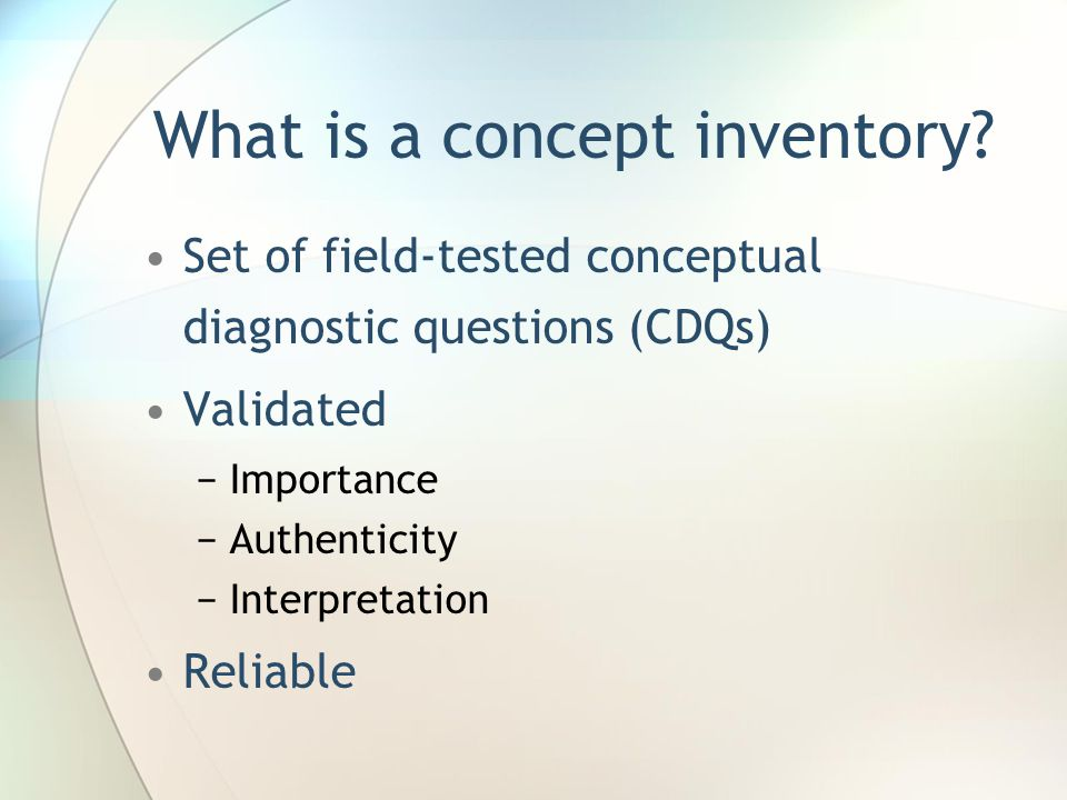 What is a concept inventory.