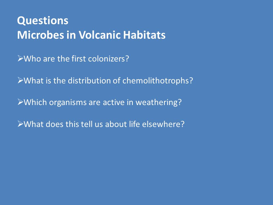 Questions Microbes in Volcanic Habitats  Who are the first colonizers?  What is the distribution of chemolithotrophs?  Which organisms are active i