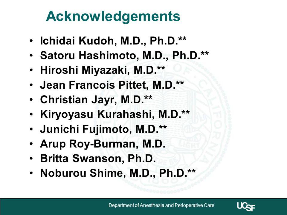 University of California,San Francisco 23 Department of Anesthesia and Perioperative Care Acknowledgements Ichidai Kudoh, M.D., Ph.D.** Satoru Hashimoto, M.D., Ph.D.** Hiroshi Miyazaki, M.D.** Jean Francois Pittet, M.D.** Christian Jayr, M.D.** Kiryoyasu Kurahashi, M.D.** Junichi Fujimoto, M.D.** Arup Roy-Burman, M.D.
