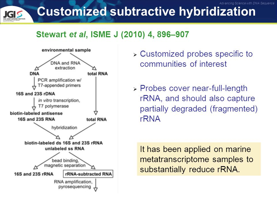 Advancing Science with DNA Sequence Customized subtractive hybridization Stewart et al, ISME J (2010) 4, 896–907  Customized probes specific to communities of interest  Probes cover near-full-length rRNA, and should also capture partially degraded (fragmented) rRNA It has been applied on marine metatranscriptome samples to substantially reduce rRNA.