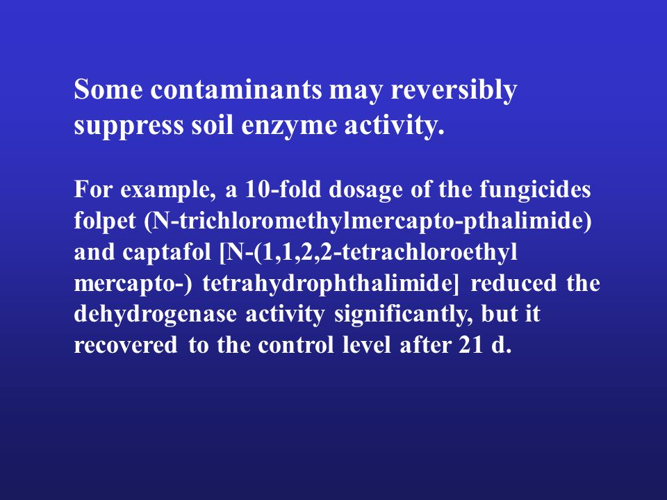 Some contaminants may reversibly suppress soil enzyme activity.