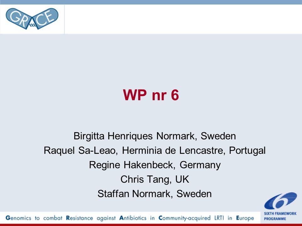 WP nr 6 Birgitta Henriques Normark, Sweden Raquel Sa-Leao, Herminia de Lencastre, Portugal Regine Hakenbeck, Germany Chris Tang, UK Staffan Normark, Sweden