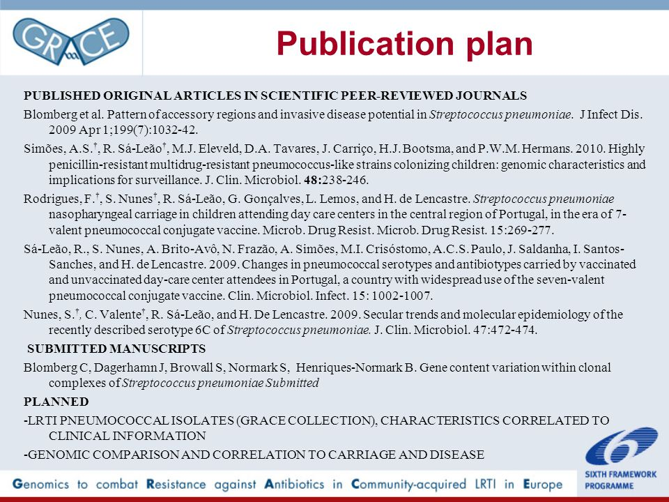Publication plan PUBLISHED ORIGINAL ARTICLES IN SCIENTIFIC PEER-REVIEWED JOURNALS Blomberg et al.