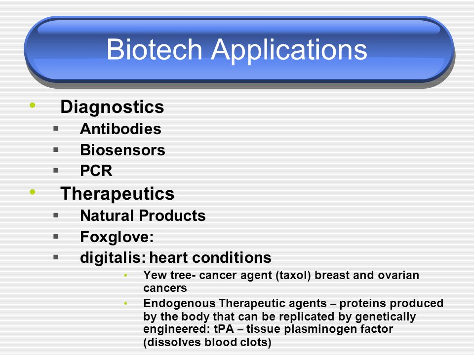 Biotech Applications Diagnostics  Antibodies  Biosensors  PCR Therapeutics  Natural Products  Foxglove:  digitalis: heart conditions Yew tree- c