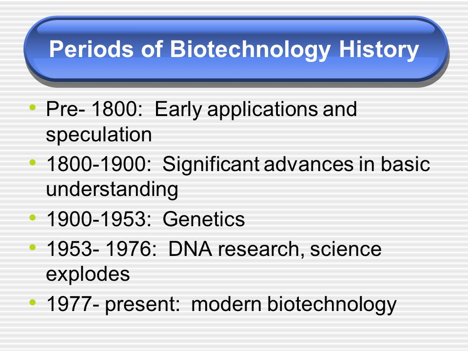 Periods of Biotechnology History Pre- 1800: Early applications and speculation 1800-1900: Significant advances in basic understanding 1900-1953: Genet