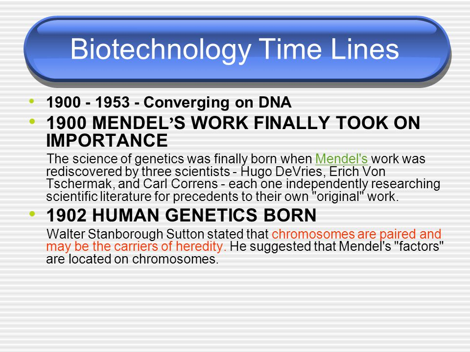 Biotechnology Time Lines 1900 - 1953 - Converging on DNA 1900 MENDEL ' S WORK FINALLY TOOK ON IMPORTANCE The science of genetics was finally born when