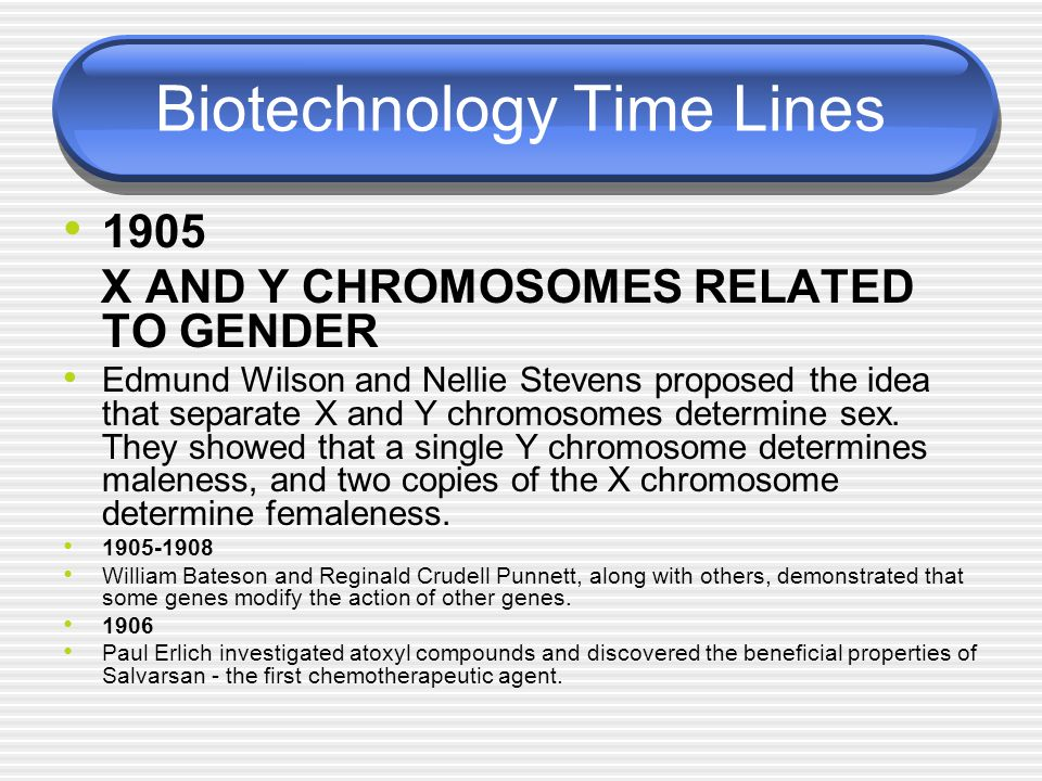 Biotechnology Time Lines 1905 X AND Y CHROMOSOMES RELATED TO GENDER Edmund Wilson and Nellie Stevens proposed the idea that separate X and Y chromosom