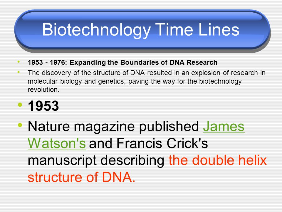 Biotechnology Time Lines 1953 - 1976: Expanding the Boundaries of DNA Research The discovery of the structure of DNA resulted in an explosion of resea