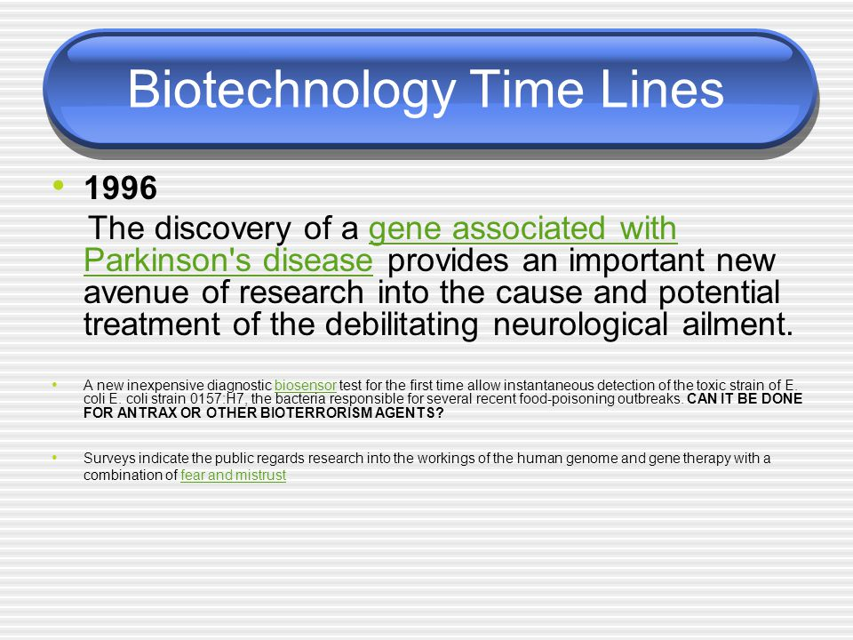 Biotechnology Time Lines 1996 The discovery of a gene associated with Parkinson's disease provides an important new avenue of research into the cause