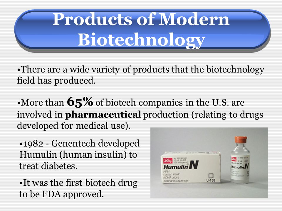 Products of Modern Biotechnology There are a wide variety of products that the biotechnology field has produced. More than 65% of biotech companies in