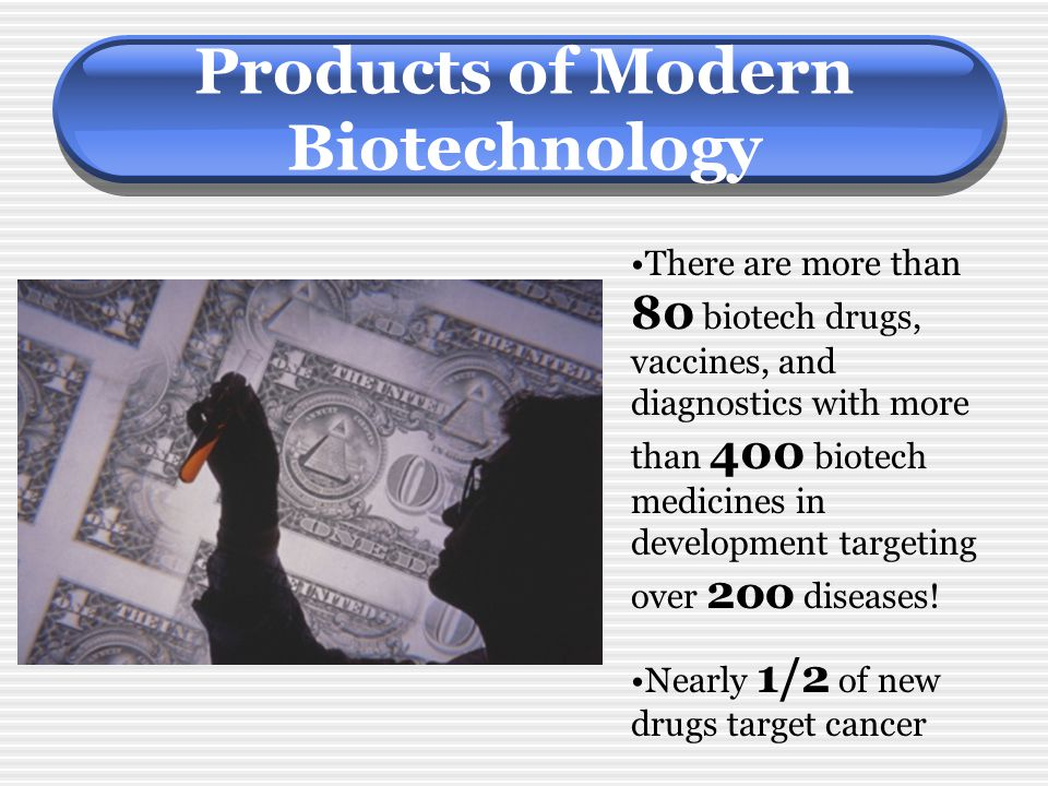 Products of Modern Biotechnology There are more than 80 biotech drugs, vaccines, and diagnostics with more than 400 biotech medicines in development t