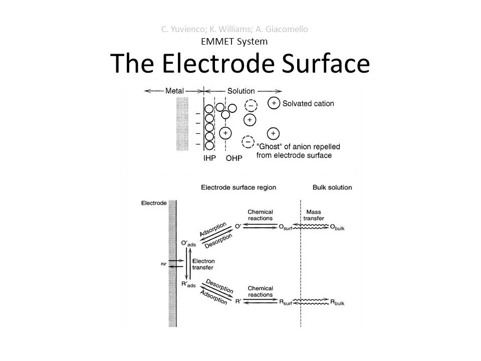 The Electrode Surface C. Yuvienco; K. Williams; A. Giacomello EMMET System