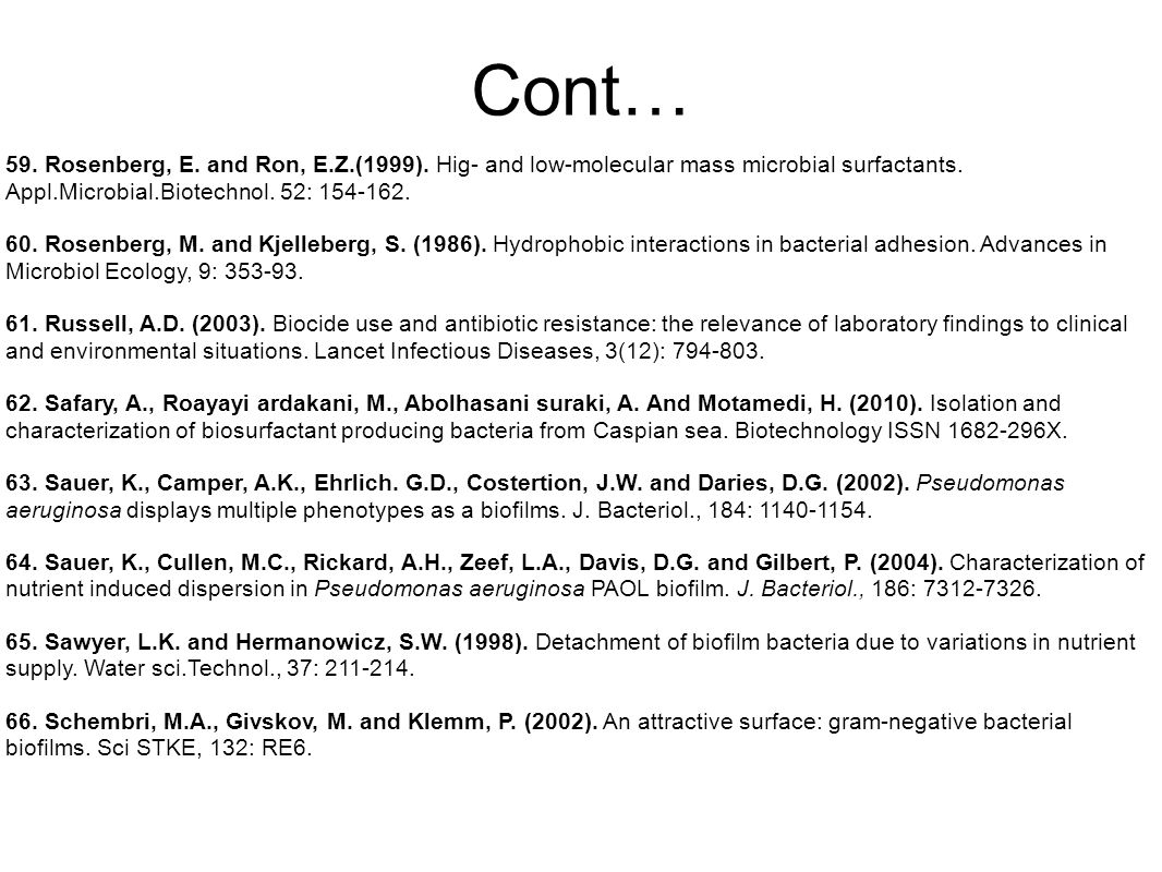 Cont… 59. Rosenberg, E. and Ron, E.Z.(1999). Hig- and low-molecular mass microbial surfactants.